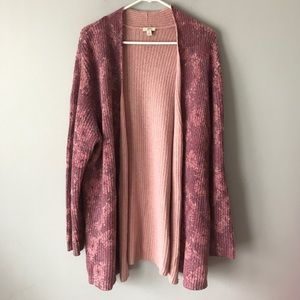 J Jill angora dusty pink floral open cardigan XL